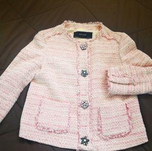 new Zara pink stone button blazer jacket